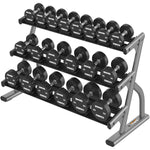 AXIOM SERIES THREE-TIER SHORT AND LONG SADDLE DUMBBELL RACKS