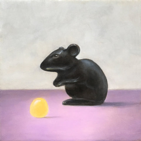 Black Glass Mouse and Yellow Candy