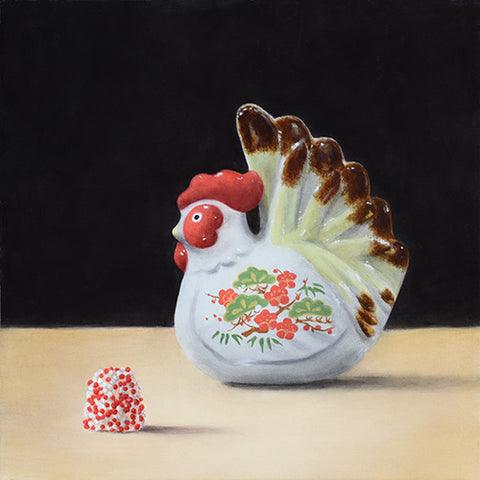 Porcelain Chicken and Red and White Candy