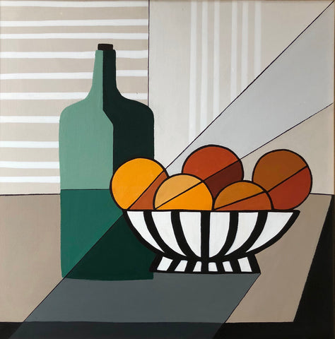 Bowl of Oranges With Green Bottle- Cindy DeAntonio