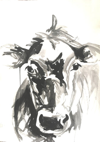 Cow Portrait In Ink I