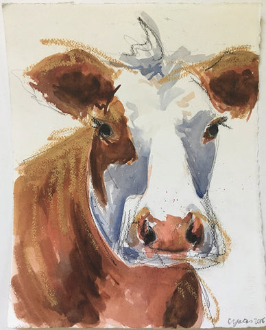 Cow Study With Gold - Christen Yates