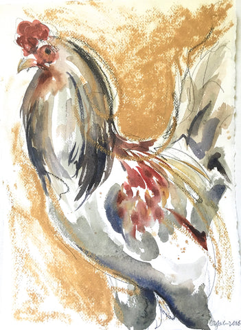 Rooster Study With Gold