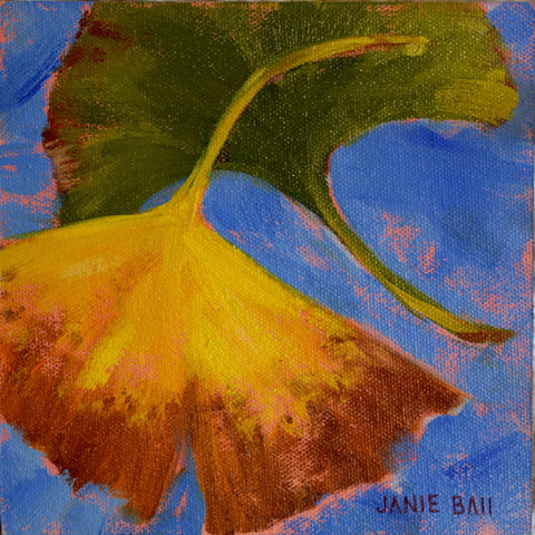 Ginko Leaves on Blue - Janie Ball