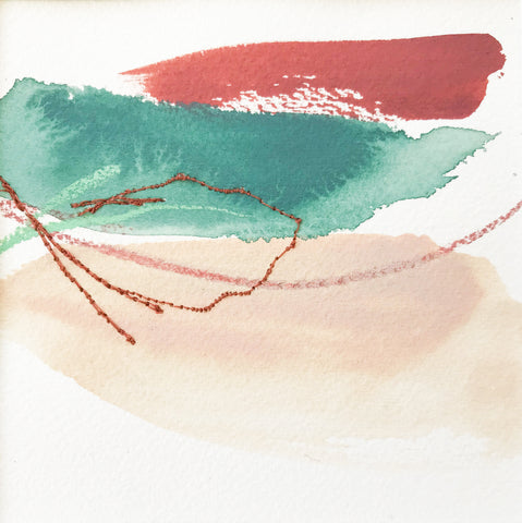 Color Study in Green Peach and Red