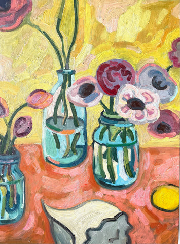 Flowers in Jars by the Sea