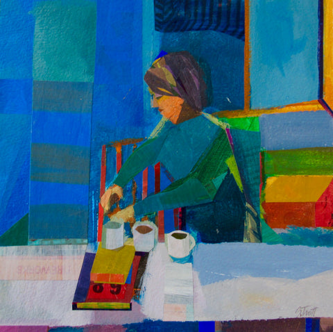 Girl with Cups (after Diebenkorn)
