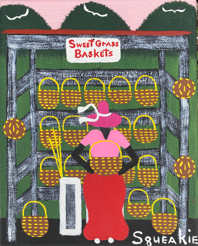 Basket Lady (Magenta Hat)