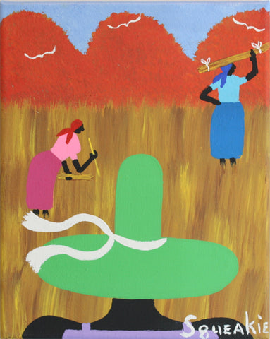Gathering Sweet Grass (Green Hat)