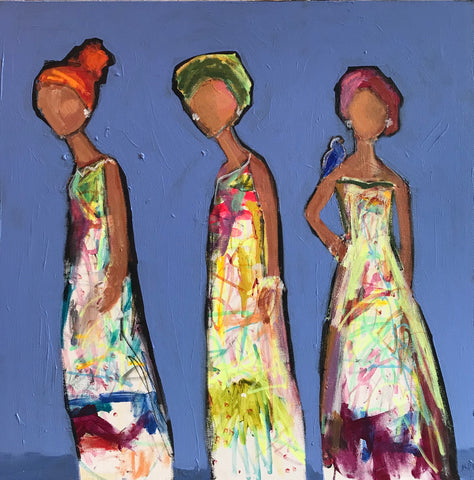 Three Ladies and a Blue Bird