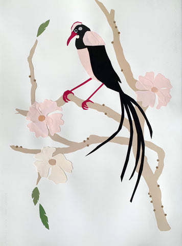 Bird With Pink Flowers II