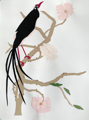 Bird With Pink Flowers I