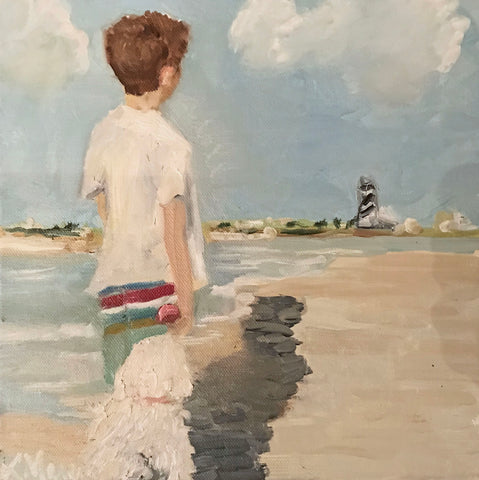 Boy With His Dog- Lanie Mann