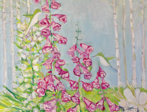 Foxgloves and Hummingbirds - Langford Barksdale