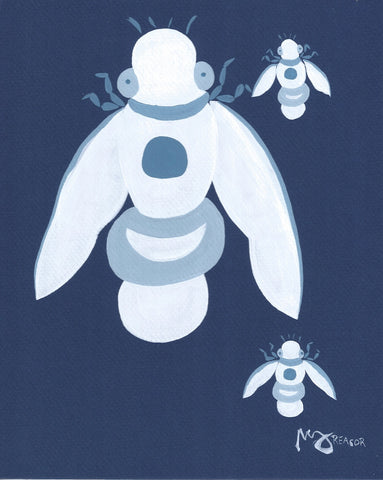 Three Blue Bees