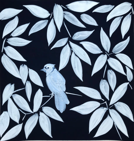 White Bird on Blue