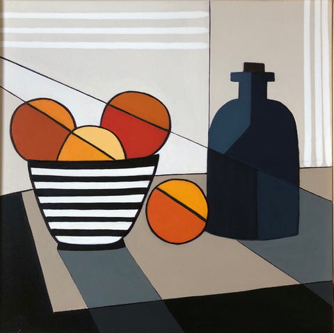 Oranges And Blue Bottle- Cindy DeAntonio
