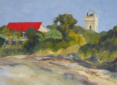 Red Roof with Island Steeple- Susan Trott