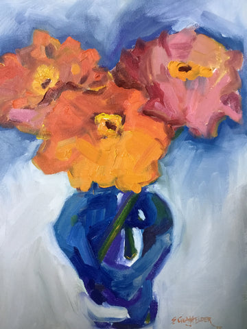 Zinnias in a Blue Vase - Susie Elder