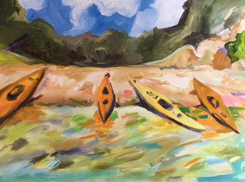 Kayaks on the Mediterranean- Susie Elder