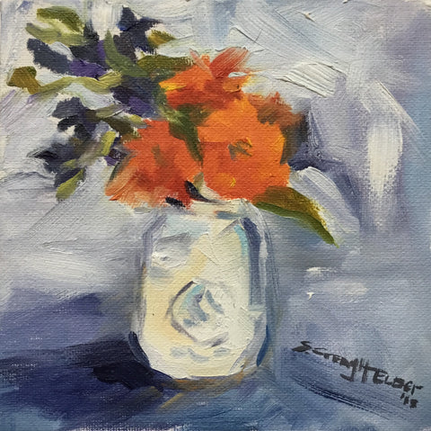Still Life In A White Mason Jar