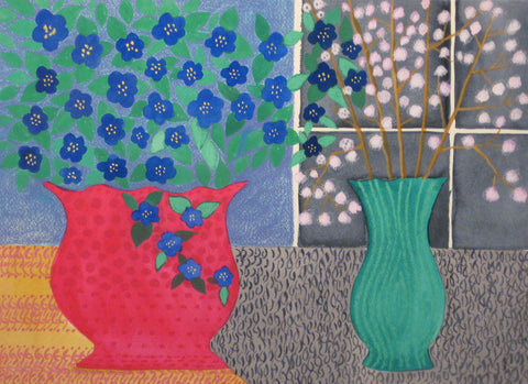 Blue Flowers in Red Vase - Linda Elksnin