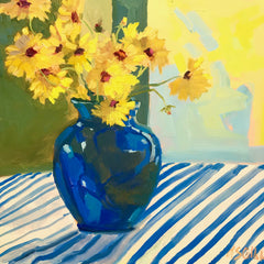 Coreopsis with Blue Vase