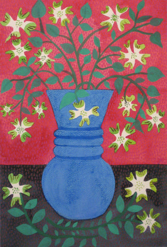 Dogwood in Blue Vase in Red Background- Linda Elksnin