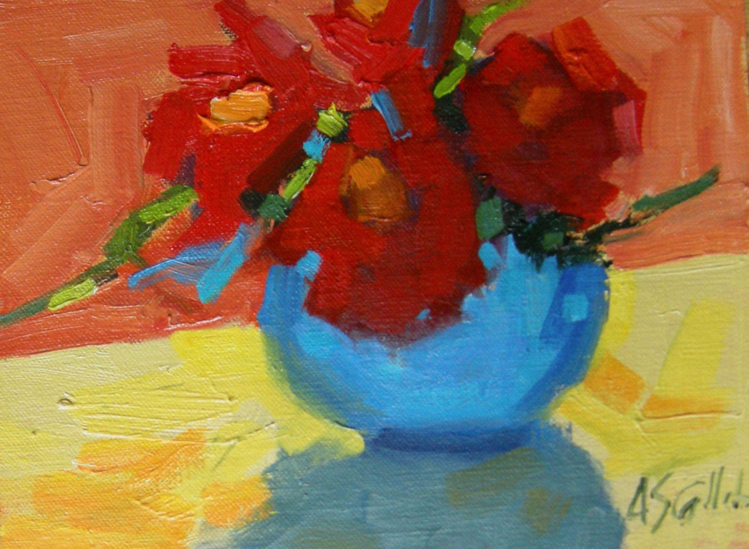 Red Flowers, Blue Pot