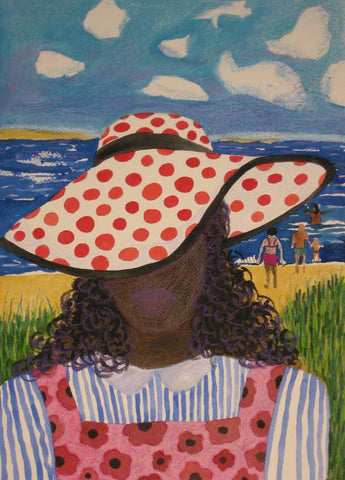 Girl in Red and White Hat on the Beach- Linda Elksnin