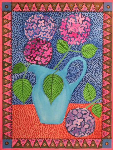 Hydrangeas in Blue Pitcher - Linda Elksnin