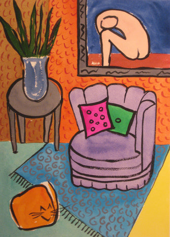Max and Purple Chair- Linda Elksnin