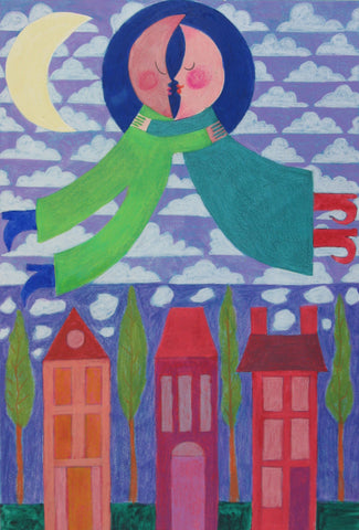 Moon People Over Carolina Street - Linda Elksnin
