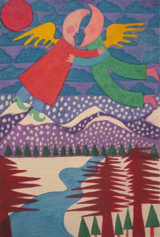 Moon People Over Frozen Mountain Stream- Linda Elksnin