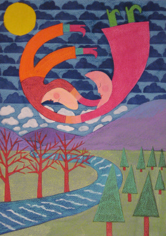 Moon People Over Mountain Stream - Linda Elksnin