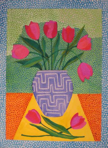 Tulips on Green Background - Linda Elksnin