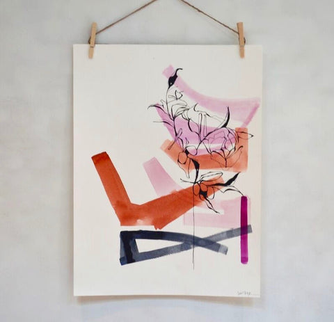 Abstract On Paper 2 (framed) - Lisa Zager