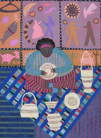 Basket Weaver and Biblical Quilt - Linda Elksnin