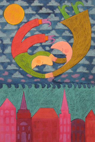 Wingless Moon People Over the City - Linda Elksnin