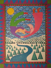Winter Moon People With Trees - Linda Elksnin