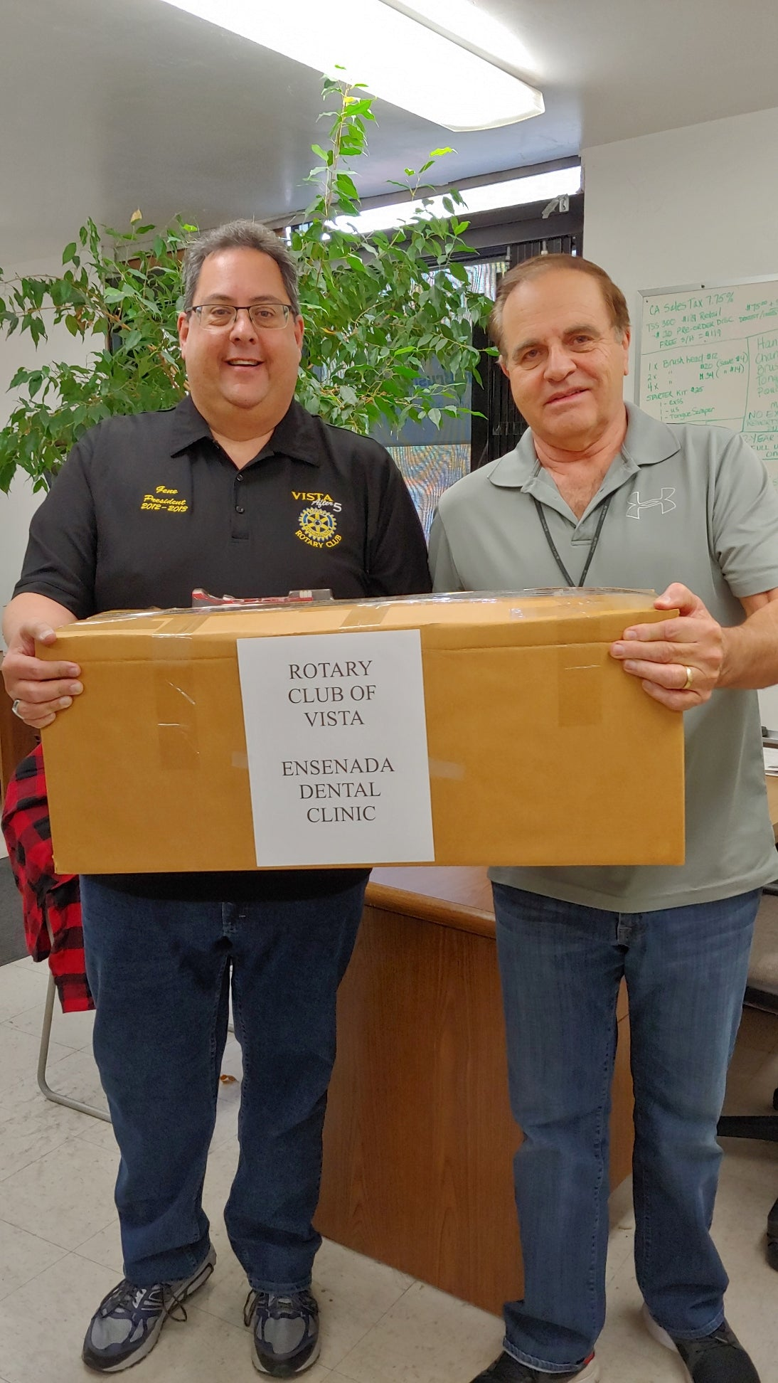 Donation to Vista Rotary Club for Ensenada Dental Clinic