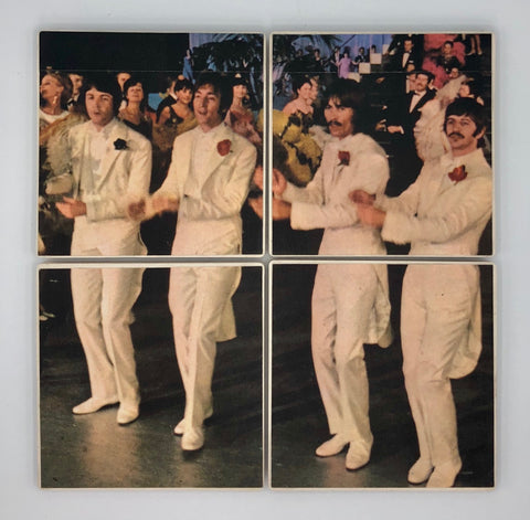 BEATLES - white suits & carnations