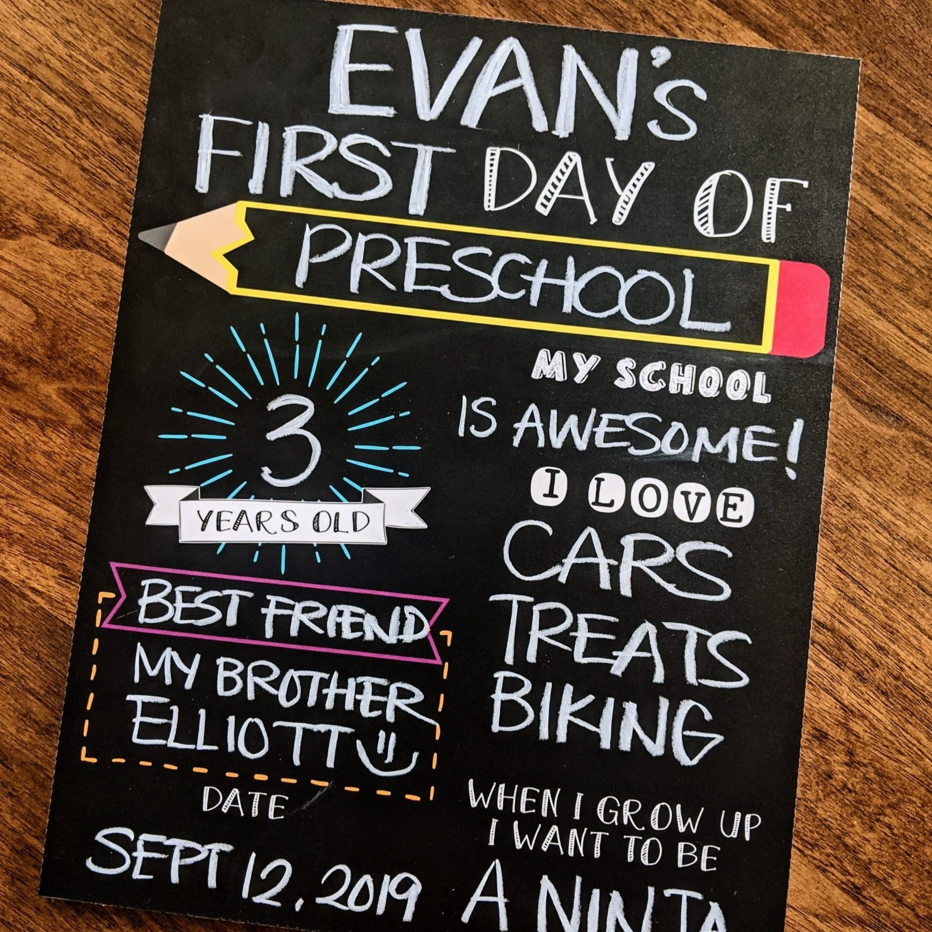 First & Last Day of School Reusable Sign