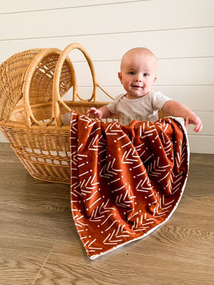Copper Mudcloth Baby Blanket