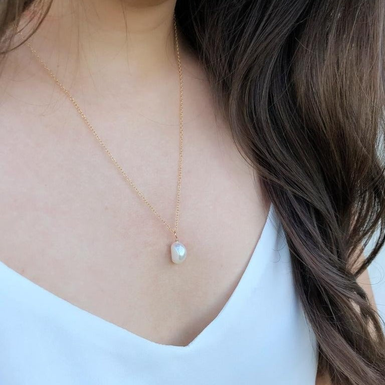 Grace Pearl Necklace 14k Gold Filled