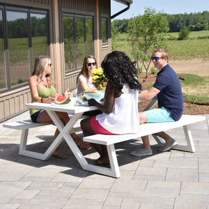 Banquet Deluxe White 8-seat Aluminum Picnic Table