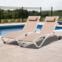 Load image into Gallery viewer, Glendale 4 Position Aluminum Pool Lounger with Wheel and Pillow 2 Pack