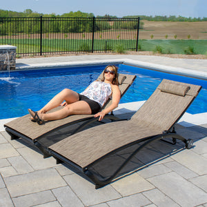 Glendale 4 Position Aluminum Pool Lounger with Wheel and Pillow 2 Pack