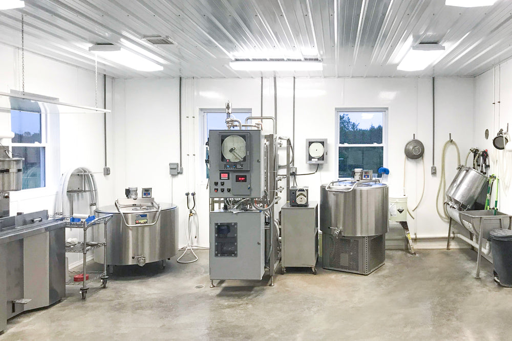 A flash (lili) pasteurizer in a milk processing facility. Our camel milk is gently flash pasteurized to maintain the healthy properties of the milk.
