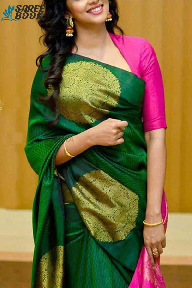 New South Silk sarees Dark Green colour - 220